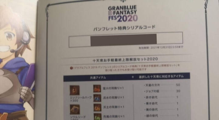 GRANBLUE FANTASY FES 2020のパンフレット特典シリアルコードの画像