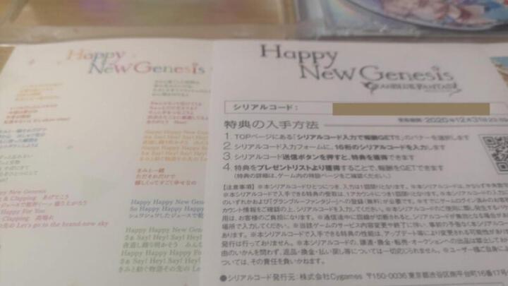 Happy New Genesisのシリアルコードの確認画面